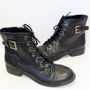 G by Guess black & gold combat boots Size 7.5